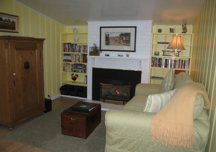 Living Room with fireplace. The vintage pine cabinet holds TV and media equipment.